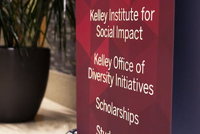 A sign listing undergraduate programs, including the Kelley Office of Diversity Initiatives, stands Feb. 19 in Hodge Hall. KODI's mission is to offer support for underrepresented minority students as well as a place for them to feel welcomed and supported at school.