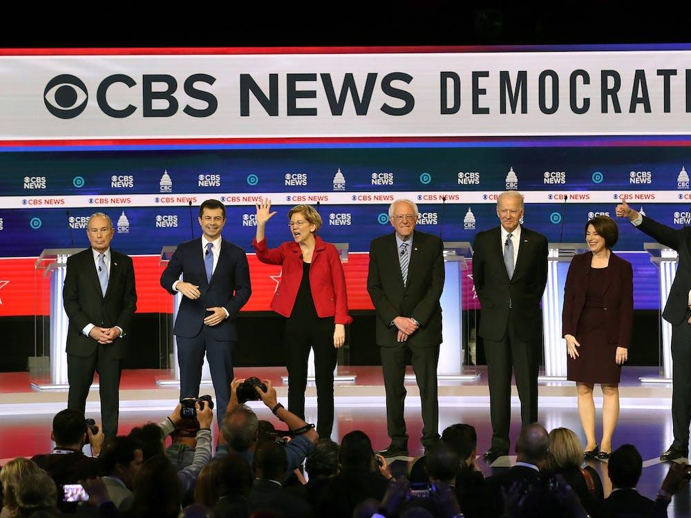 Democratic presidential candidates take the stage Feb. 25 for the Democratic presidential primary debate at the Charleston Gaillard Center in Charleston, South Carolina.