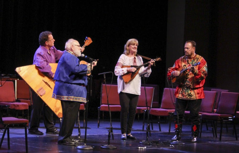 Musicians perform Saturday night at the Buskird Chumley theater during the Russian Festival Concert. The performers are from Russia, Europe and North America.