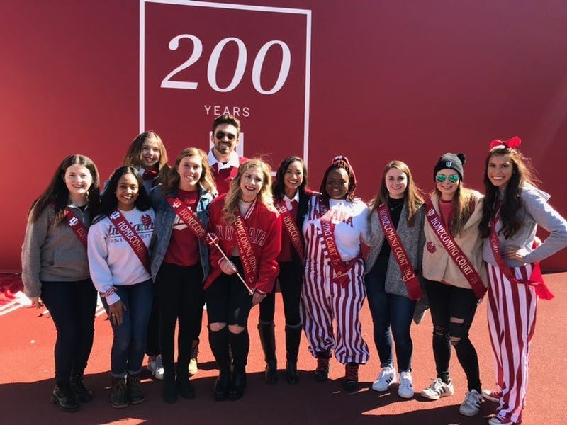 IU's 2019 Homecoming Court stands together Oct. 12 in Memorial Stadium. The homecoming court was announced during halftime.