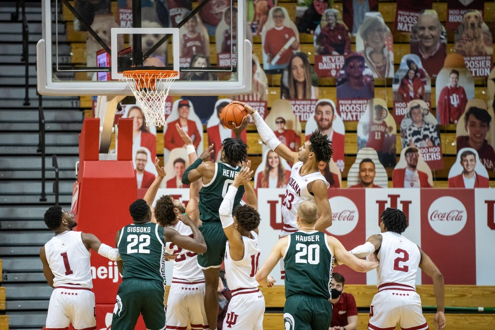 <p>Trayce Jackson-Davis blocks a shot against Michigan State on Feb. 20 at Simon Skjodt Assembly Hall. Hoosiers played Michigan State on Tuesday at 8 p.m.</p>