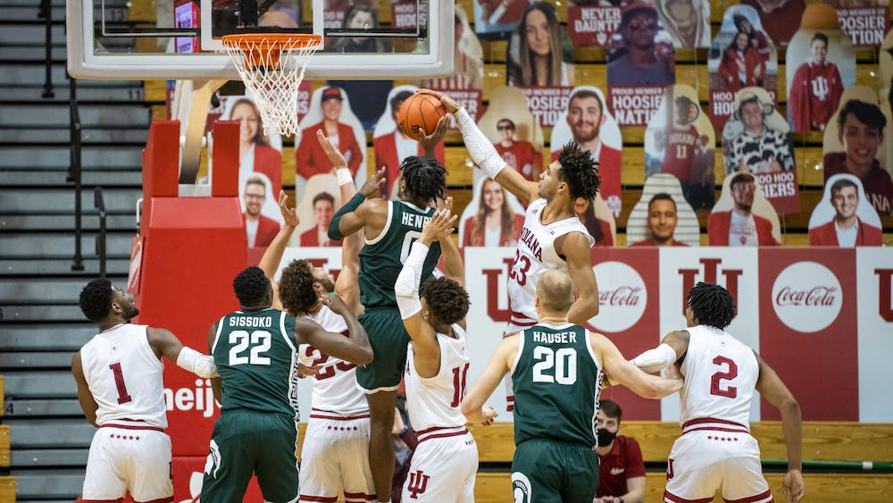 Trayce Jackson-Davis blocks a shot against Michigan State on Feb. 20 at Simon Skjodt Assembly Hall. Hoosiers played Michigan State on Tuesday at 8 p.m.