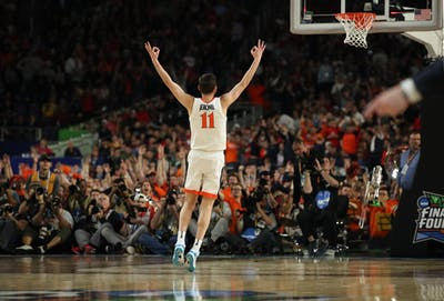 University of Virginia guard Ty Jerome reacts after making a 3-point basket against Texas Tech April 8, 2019, during the first half of the NCAA Championship game at U.S. Bank Stadium in Minneapolis.