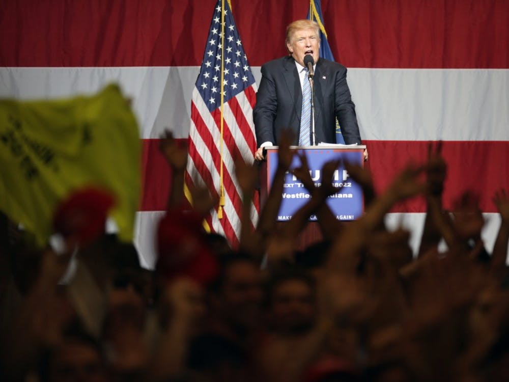 """Donald Trump, republican presidential candidate, has his supporters reference the media during a Trump rally in Westfield, Ind. on Tuesday evening.  The media does not show all of his supporters and only focuses on him, Trump said.  """"I'm the messenger, you're the important ones in the whole thing,"""" he said."""