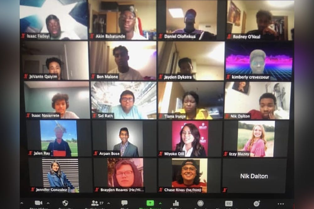 <p>Underrepresented Students in Tech members offer a Zoom event in fall 2020. The organization focuses on underrepresented students in technology. </p>