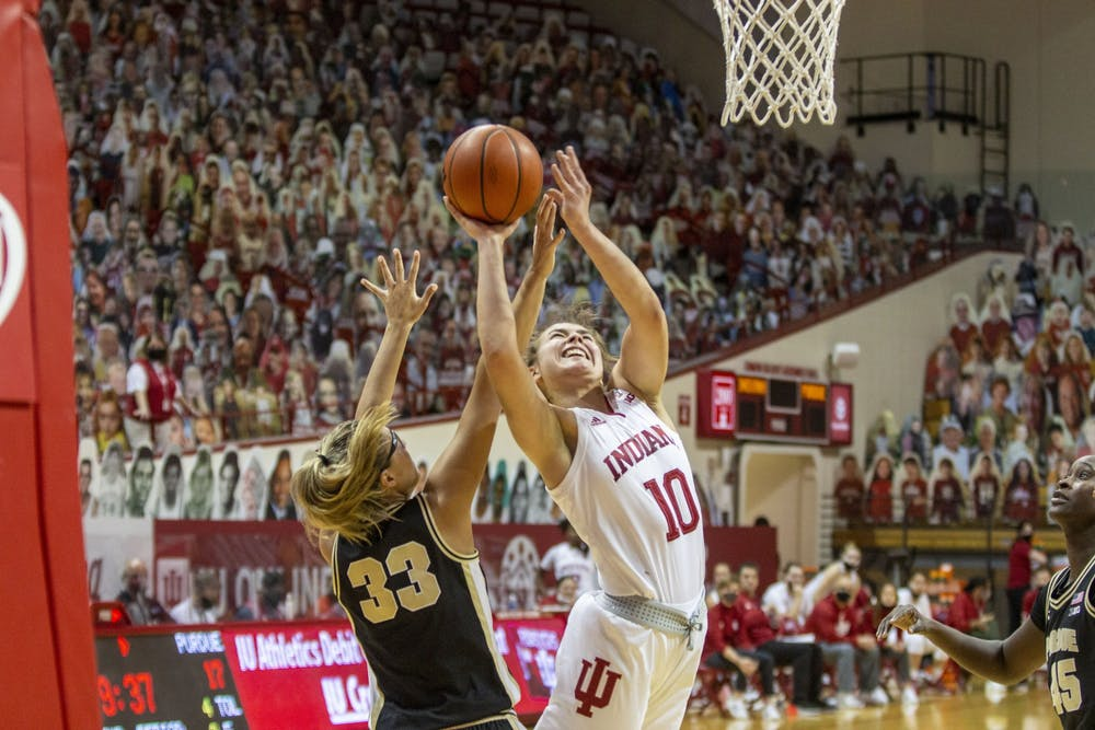 <p>Junior forward Aleksa Gulbe attempts a layup March 6 at Simon Skjodt Assembly Hall. Gulbe had 11 points and 10 rebounds in IU&#x27;s 73-70 win over NC State on Saturday in San Antonio.</p>