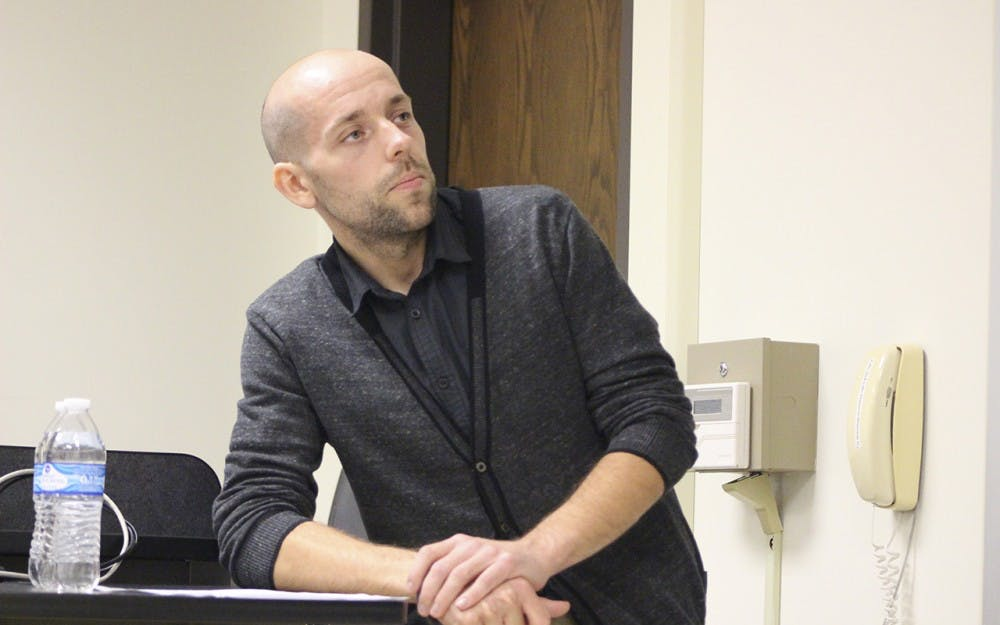 Jagiellonian University professor Konrad Werner explains the varieties of anti-irrationalism in Poland in Woodburn Hall on Wednesday. The lecture was hosted by the Polish Studies Center.
