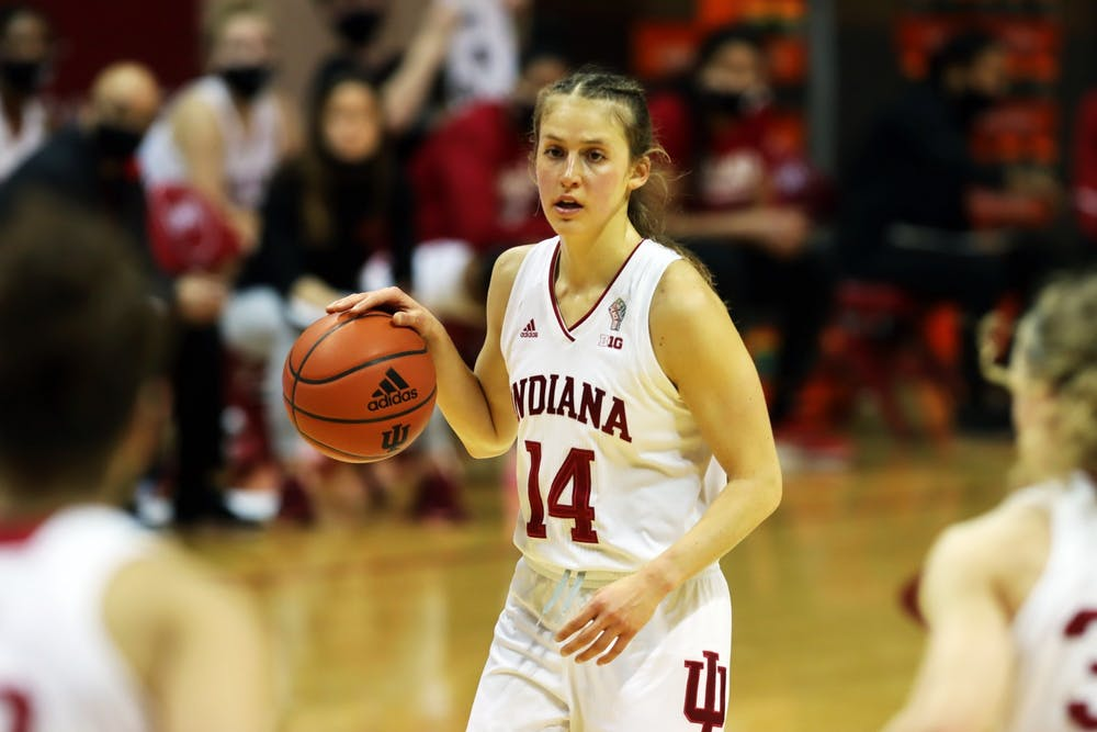 <p>Senior guard Ali Patberg dribbles the ball up the court Wednesday in Simon Skjodt Assembly Hall during a game against Penn State. Patberg stated in a Twitter post Wednesday she will be returning to play the 2021-22 season.</p>