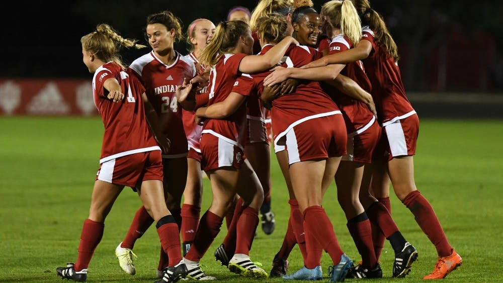 IU celebrates after junior forward Maya Piper scores her seventh goal of the season against Iowa on Oct. 12 at Bill Armstrong Stadium. Former IU women's soccer associate head coach Sergio Gonzalez left the program Tuesday to become an associate head coach with the Ohio State men's soccer team.