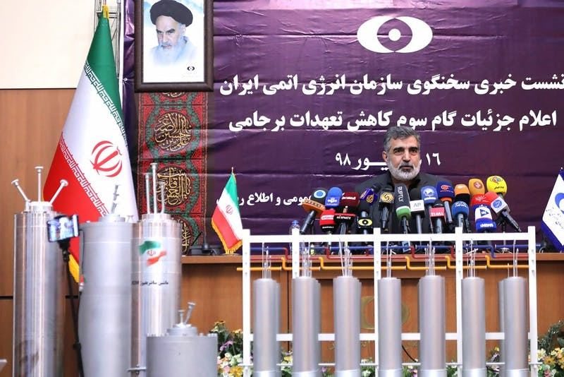 Behrouz Kamalvandi, spokesman for the Atomic Energy Organization of Iran, speaks to reporters Sept. 7 in Tehran, Iran. Kamalvandi said Iran has begun using 20 IR-6 centrifuges and additional 20 IR-4 centrifuges, accelerating the country's ability to increase its stockpile of enriched uranium on an industrial scale.