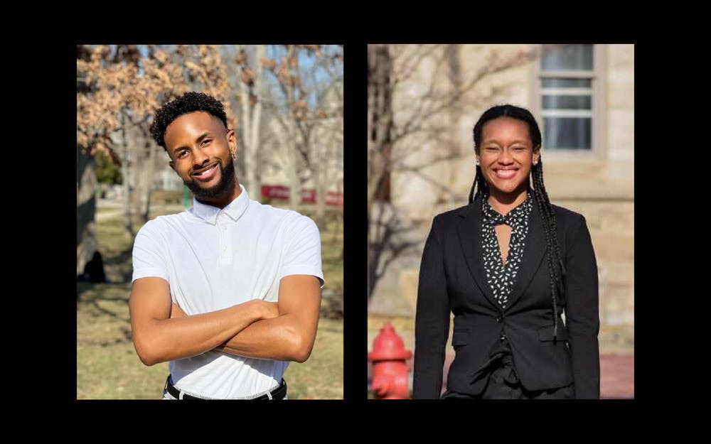 <p>IU juniors Ky Freeman, left, and Dorynn Mentor, right, each pose for photos. Freeman and Mentor are both on IUSG&#x27;s presidential ticket. </p>