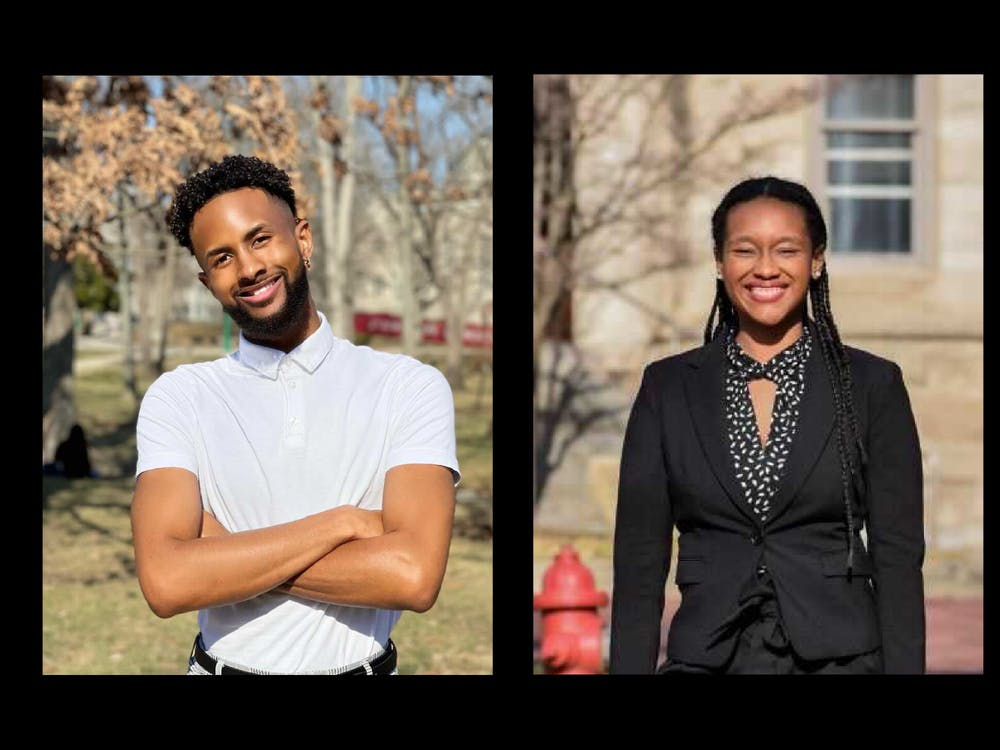 IU juniors Ky Freeman, left, and Dorynn Mentor, right, each pose for photos. Freeman and Mentor are both on IUSG's presidential ticket.