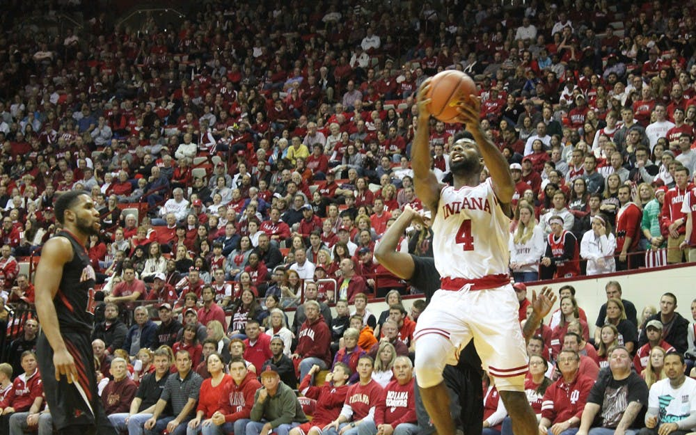Junior Robert Johnson attempts a layup. The Hoosiers defeated the Redhawks 83-55.