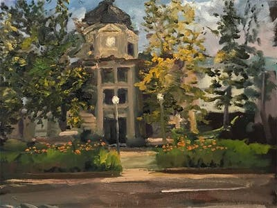 """Courthouse Square"" is an art piece by Don Geyra. Geyra will be leading a painting demonstration at Flowing Colors Studio."
