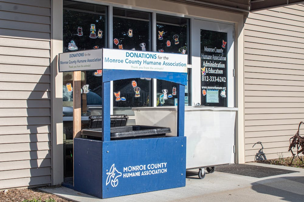 <p>A spot for donations is seen outside of the Monroe County Humane Association on Sept. 16, 2021, which is located at 3410 S. Walnut St. In 2021, the City of Bloomington Animal Shelter has seen an increase in pet surrenders as people are returning to normalcy.</p>
