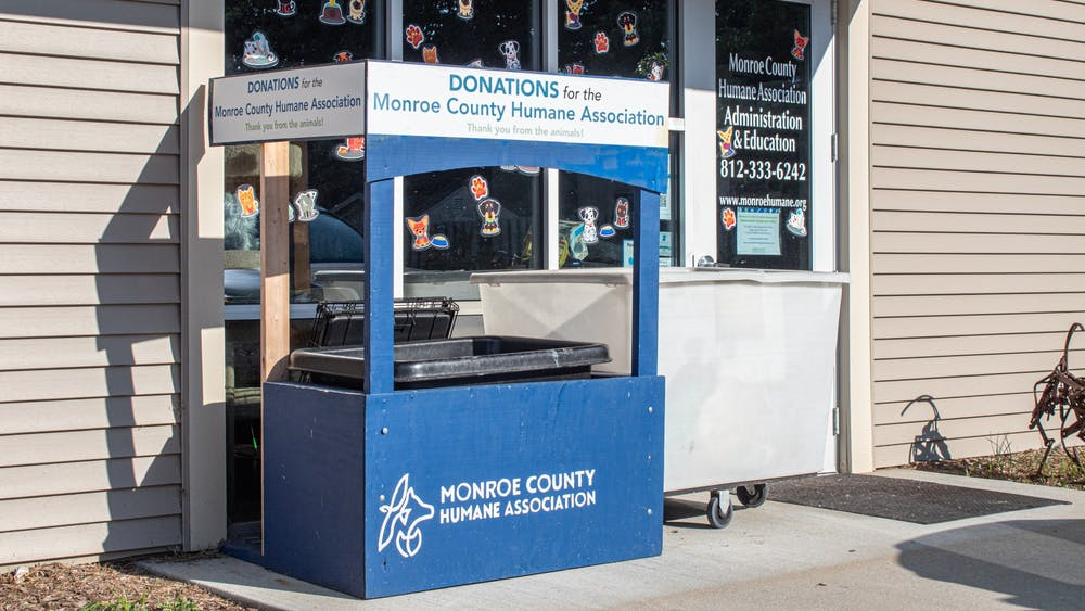 A spot for donations is seen outside of the Monroe County Humane Association on Sept. 16, 2021, which is located at 3410 S. Walnut St. In 2021, the City of Bloomington Animal Shelter has seen an increase in pet surrenders as people are returning to normalcy.