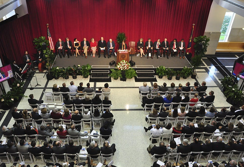 Lauren Robel, Executive Vice President of Indiana University, welcomes the crowd to the dedication ceremony for the Hodge Hall Undergraduate Center on Friday.