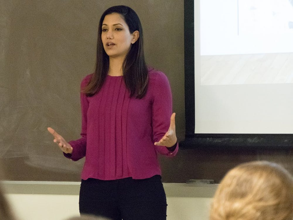 Former IDF soldier Lital shares her life story at Woodburn Hall on Monday.  Lital, along with fellow former IDF soldier Mohammed, are touring around America educating young adults on Israel and its people.