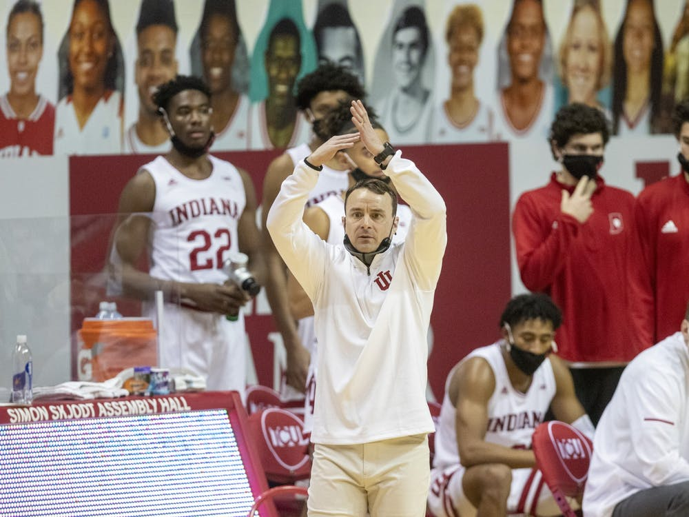 The head coach Archie Miller calls for a time out Jan. 24 in Simon Skjodt Assembly Hall. IU men's basketball fired Miller on March 15.