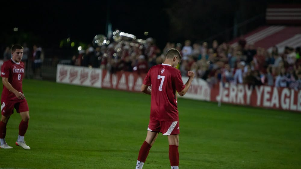 Junior forward Victor Bezerra celebrates after scoring the first goal of the match Oct. 20, 2021, at Bill Armstrong Stadium. Indiana defeated Evansville 2-0.
