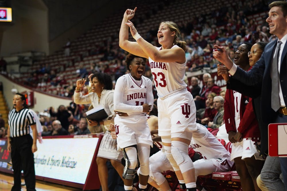 <p>Freshman forward Jorie Allen cheers after a play Jan. 16 in Simon Skjodt Assembly Hall. Allen announced Sunday her intention to transfer from the IU women&#x27;s basketball program.</p>