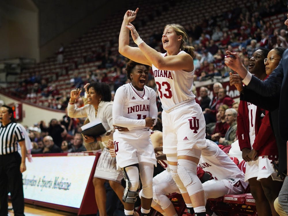 Freshman forward Jorie Allen cheers after a play Jan. 16 in Simon Skjodt Assembly Hall. Allen announced Sunday her intention to transfer from the IU women's basketball program.
