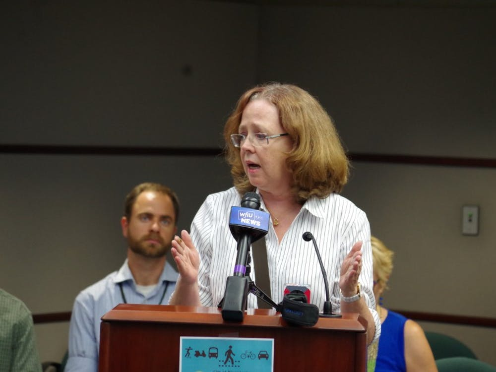 Margaret Clements, a Bloomington resident, argued against the draft of the city's new transportation plan on Thursday and its focus on cyclists and younger residents over drivers and the elderly. A public meeting about the plan took place in City Hall.