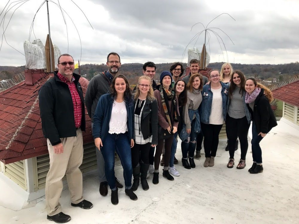 The comprehensive design class stands on the roof of the West Baden Springs Hotel near Paoli, Indiana. Comprehensive design, a major within the School of Art, Architecture + Design, was created a little less than two years ago to fill the gap between different areas of design offered.