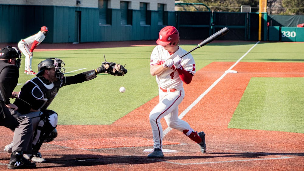 Freshman outfielder Hunter Jessee is hit by a pitch Saturday at Bart Kaufman Field. The Hoosiers won two of three games against the Purdue Boilermakers this weekend.