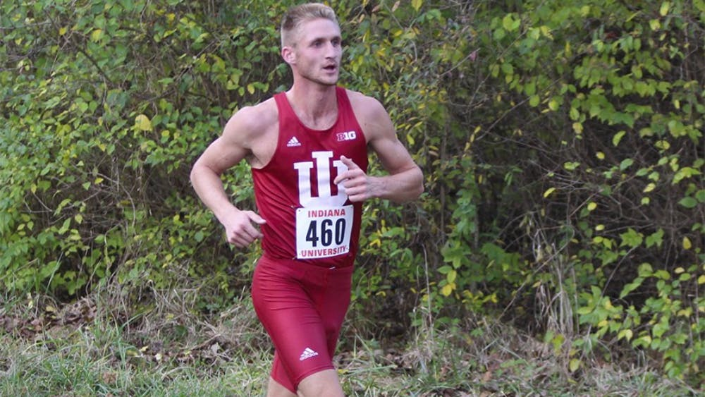 Red-shirt senior Josh Roche finishes third with a time of  25:27.0 in the men's 8K during the Hoosier Inivtational Friday afternoon at the IU Championship Cross Country Course. The next meet for the Hoosiers is on November 13 in Madison, Wis.