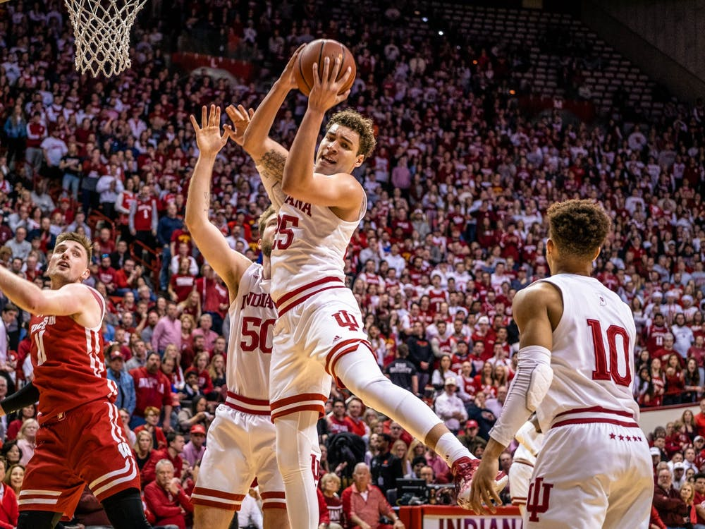 Then-redshirt sophomore forward Race Thompson rebounds the ball after a miss from his teammate March 7 in Simon Skjodt Assembly Hall. Thompson is part of the Big Ten's new Anti-Hate and Anti-Racism Coalition.