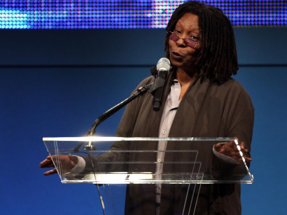 Actress Whoopi Goldberg introduces director Steven Spielberg before he was awarded the 2009 Liberty Medal at the Constitution Center in Philadelphia, Pennsylvania, on Oct. 8, 2009.  Goldberg, along with Glenn Close, spoke Saturday at Presidents Hall in Franklin Hall as part of An Intimate Conversation on Life, Acting, and Mental Health.