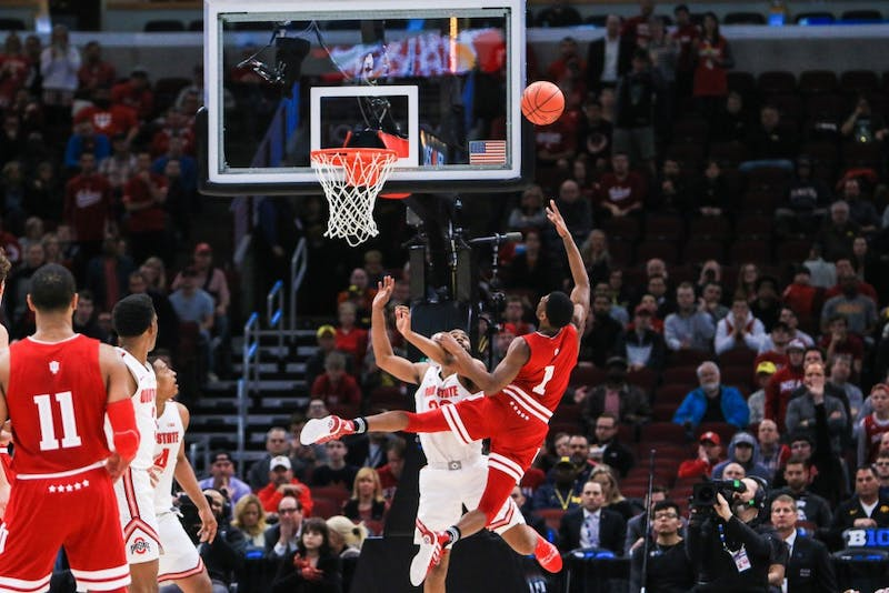 Sophomore guard Aljami Durham scores against Ohio State on March 14 during the Big Ten Men's Basketball Tournament in Chicago. The Hoosiers lost to the Buckeyes, 79-75.