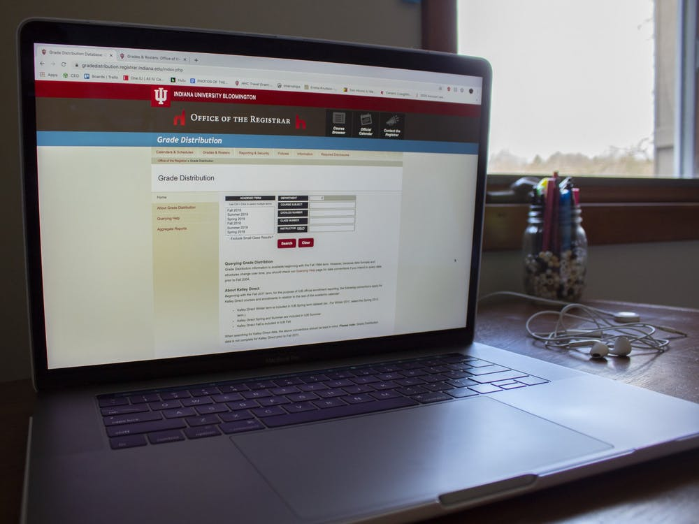 The IU grade distribution site is displayed on a computer April 5.