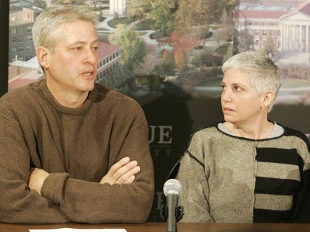 Dale Steffey and Dawn Adams speaks at a news conference, Tuesday, March 20, 2007, in West Lafayette, Ind., about the death of their son, student Wade Steffey.  The  19-year-old Purdue University student missing for two months was fatally shocked after he entered a high-voltage utility room about 50 yards from where he was last seen, officials said Tuesday. (AP Photo/Journal & Courier, Michael Heinz)