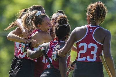 Freshman Maddie Boehm celebrates with her teammates after scoring her first goal for the year Sept. 14 at the IU Field Hockey Complex. IU is coming off an 0-8 conference season in 2017.