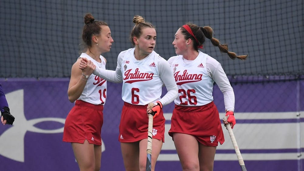 <p>IU field hockey players compete in a match against Ohio State on April 2. IU lost 0-5 to Ohio State on Friday and lost 0-6 to OSU on Sunday. </p>