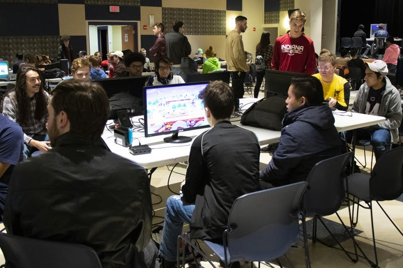 Players compete in a Super Smash Bros. tournament Jan. 18 at Willkie Quad. Bloomington's premier Super Smash Bros. tournament series, Full Bloom, has been canceled by organizers because of COVID-19 concerns, according to a Wednesday release from Smash At IUB.