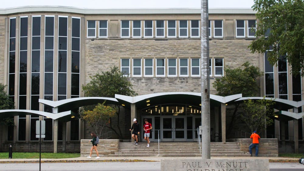 Students walk out of McNutt Quad, Oct. 4, 2021. A Jewish student's mezzuzah was torn down from her dorm door at the residence hall Sept. 24.