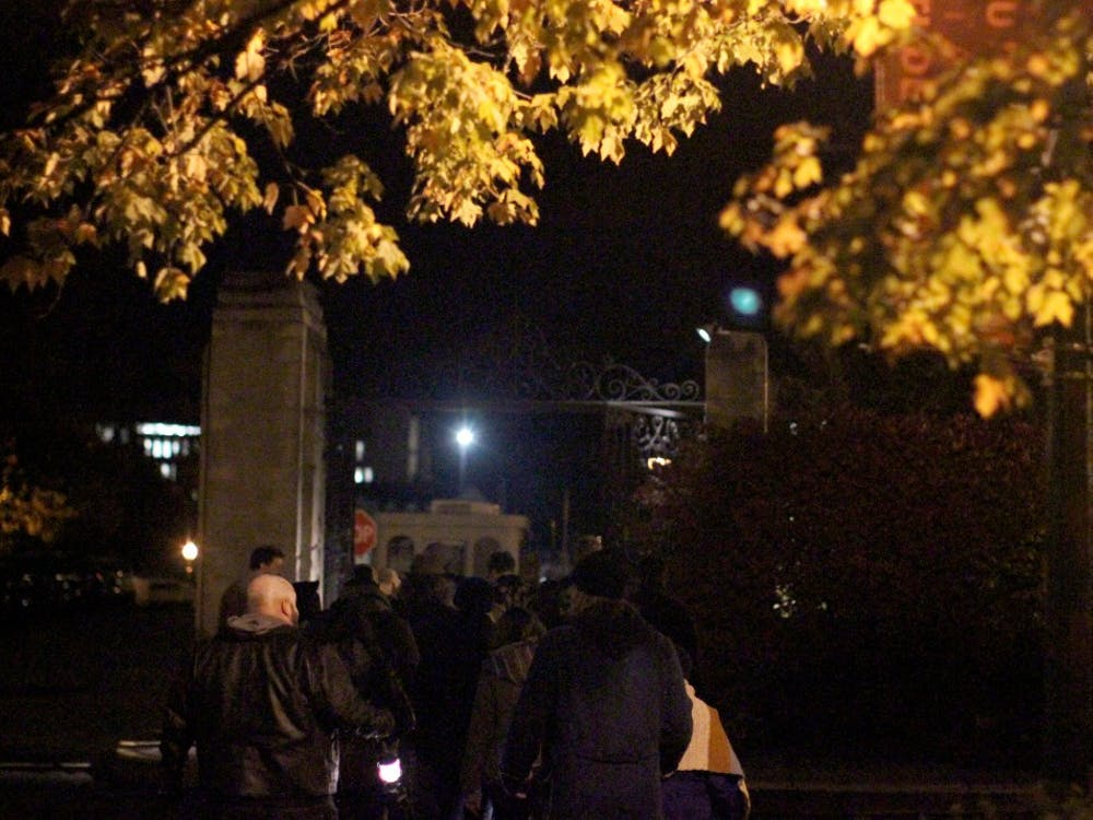 The ghost walkers ended their tour at Showalter Fountain. They covered spirits and different legends at the Indiana Memorial Union, Dunn cemetery and Owen Hall.