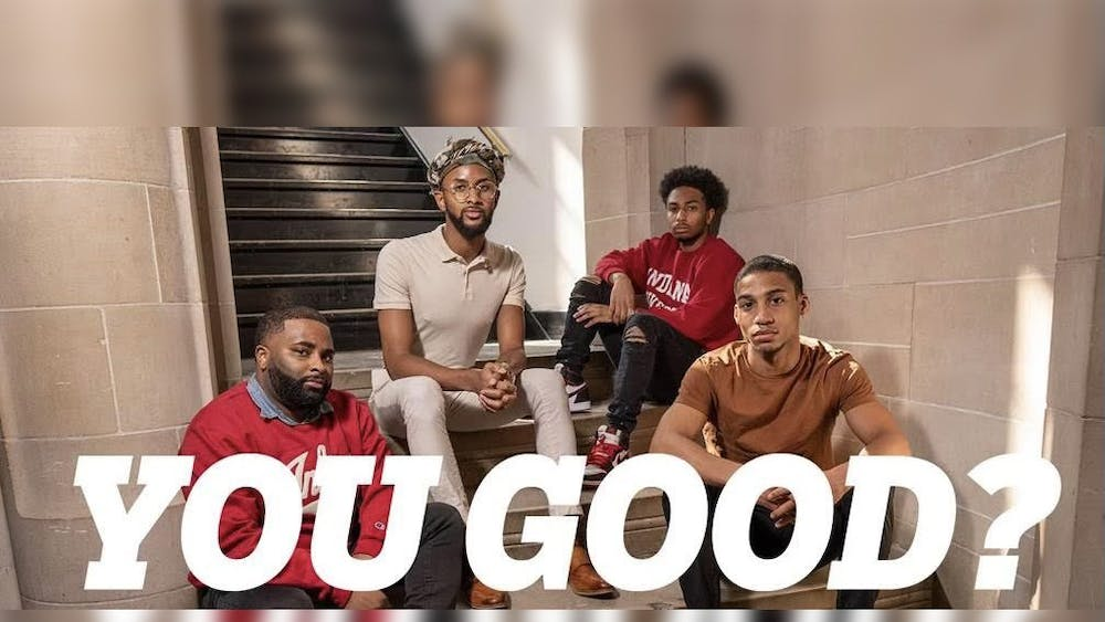 """Participants of the IU """"You Good?"""" event pose for a promotional photo. The """"You Good?"""" initiative, created and launched in March in partnership with Counseling and Psychological Services, aims to facilitate a conversation regarding mental health with the Black men of IU and Bloomington in a more relaxed environment than formal counseling."""