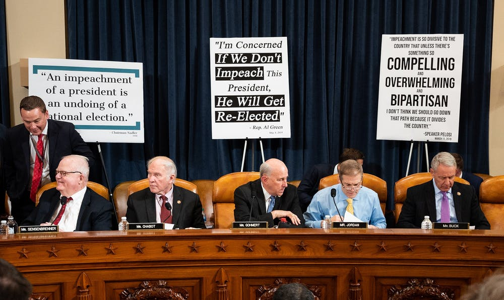 <p>U.S. Reps. James Sensenbrenner, R-Wisconsin,  Steve Chabot, R-Ohio, Louie Gohmert, R-Texas, Jim Jordan, R-Ohio, and Ken Buck, R-Colorado, listen to proceedings at the House Judiciary Committee Impeachment Inquiry Hearing on Wednesday in Washington, D.C.</p>