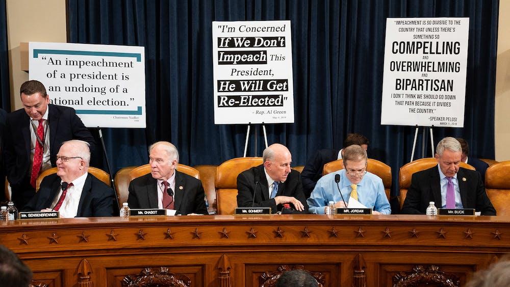 U.S. Reps. James Sensenbrenner, R-Wisconsin,  Steve Chabot, R-Ohio, Louie Gohmert, R-Texas, Jim Jordan, R-Ohio, and Ken Buck, R-Colorado, listen to proceedings at the House Judiciary Committee Impeachment Inquiry Hearing on Wednesday in Washington, D.C.