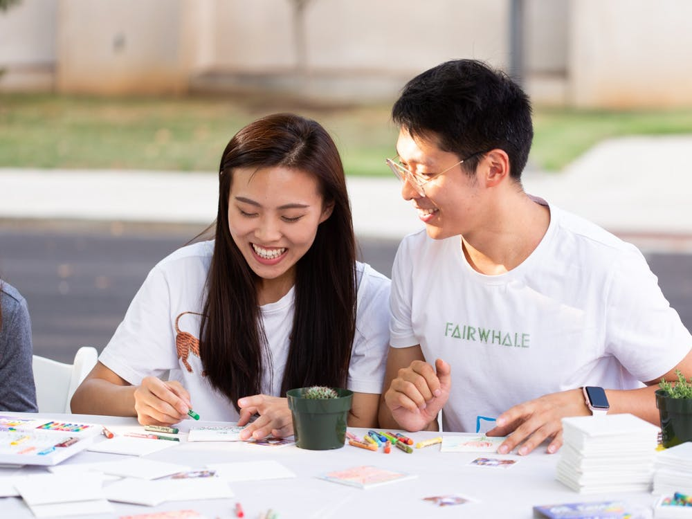 Two students participate in activities at 2019 CultureFest.