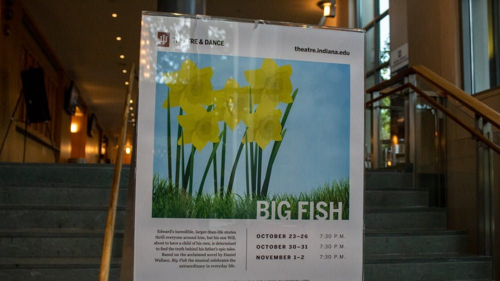 """A sign for """"Big Fish"""" stands in the lobby on Oct. 23 of the Lee Norvelle Theater and Drama Center. Big Fish has eight scheduled performances."""