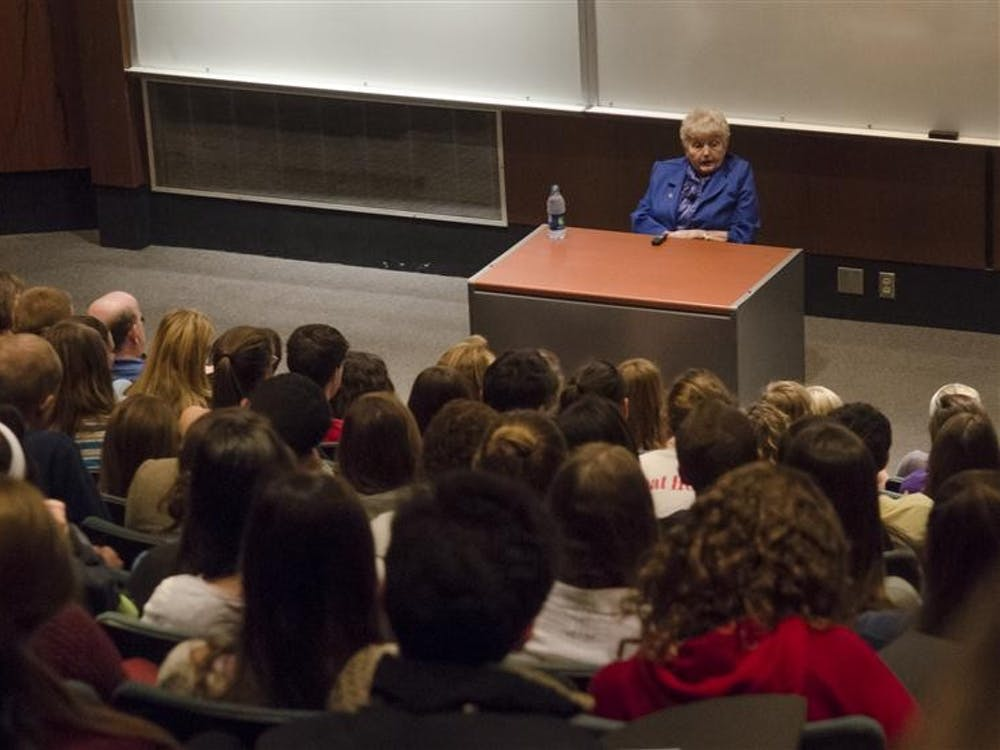 Holocaust survivor Eva Kor tells the story of her time in Auschwitz on Tuesday at the Kelley School of Business. Together with her twin sister, Kor was subjected to experiments by Josef Mengele.