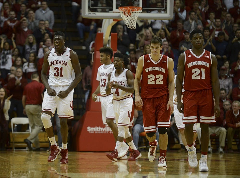 Freshman center Thomas Bryant celebrates during the game against Wisconsin on Jan. 5 at Assembly Hall. The Hoosiers won, 59-58.
