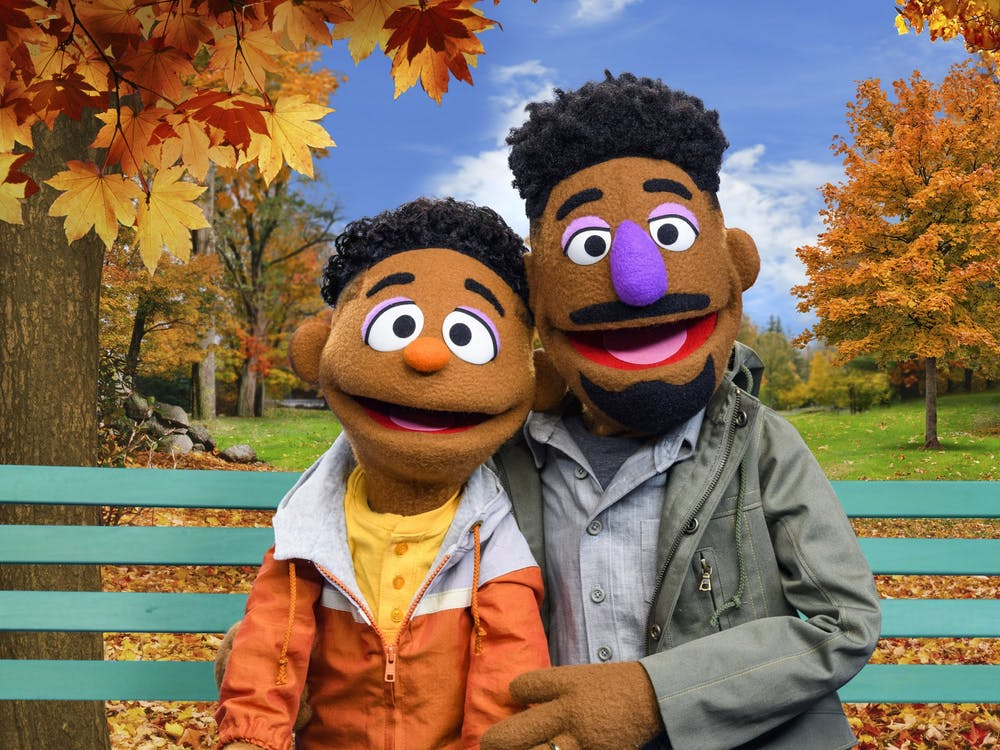 """Wes and Elijah, two new additions to Sesame Street's cast of muppets, appear. The characters will star in the new series """"ABCs of Racial Literacy."""""""