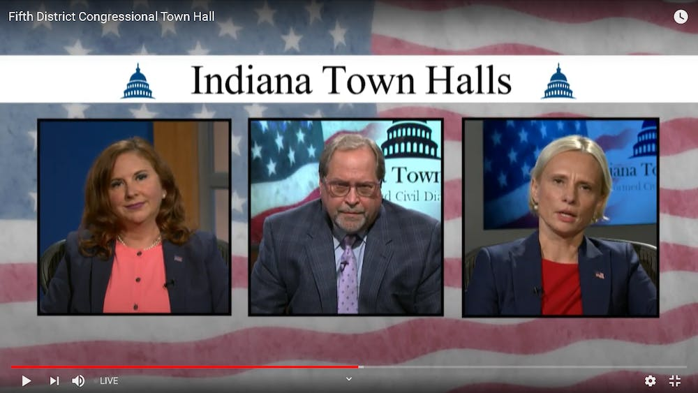 Republican Victoria Spartz and Democrat Christina Hale answer questions during a Fifth District Congressional Town Hall on Tuesday over livestream. The questions were presented by voters live from WFYI studios.