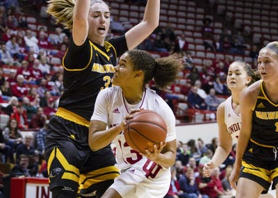 Sophomore guard Jaelynn Penn goes in for a layup against Milwaukee on Nov. 7 at Simon Skjodt Assembly Hall. Penn is averaging 12.3 points per game this season.